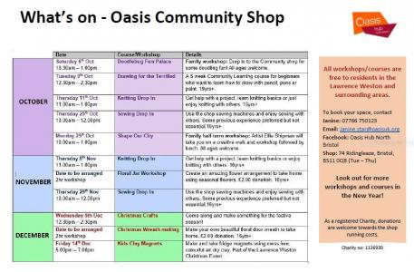 What's Coming up in the Oasis Community Shop